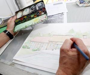 Ivo Toremans bvba, na de tekening volgt de inkleuring in aquarel.