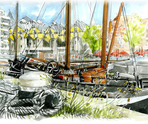 Aquarel tekeningen by Ivo Toremans Carnet de Voyage,  citytrips souveniers.