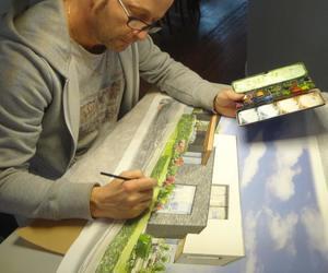 Werkwijze, materiaal klant, eerste voorstudie schets in potlood , dan nettekening in aquarel.
