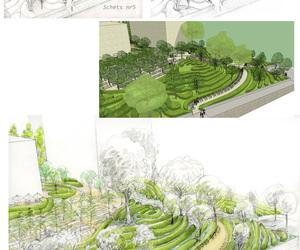 Presentaties voor tuin en landschapsarchitecten. Werkwijze, materiaal klant, eerste voorstudie schets in potlood , dan nettekening in aquarel.