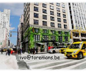 Groen in de stad, Old school, hand getekende aquarel schetsen.