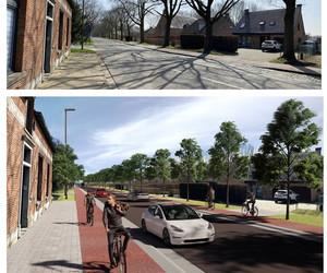 In planting voorstel, fietsstrook , in de bestaan de situatie , om een duidelijk beeld te tonen van wat er gaat gebeuren.